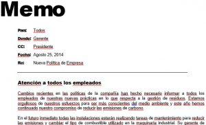 Business Memo in Spanish