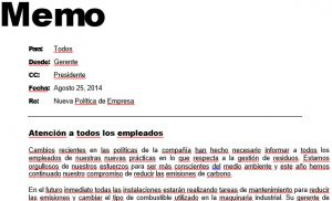 Business Memo in Spanish
